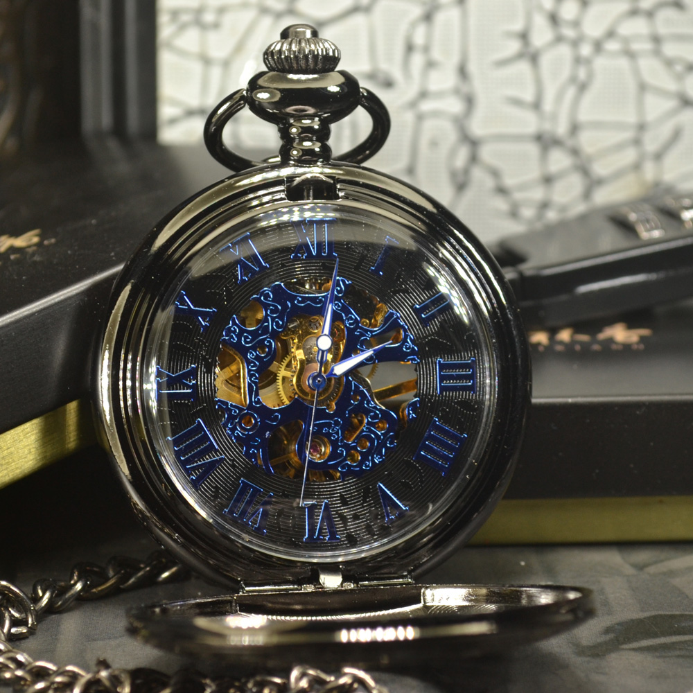 TIEDAN Blue Steampunk Skeleton Mechanical Pocket Watch Men Antique Luxury Brand Necklace Pocket & Fob Watches Chain Male Clock 9 style vintage steampunk pocket watch luxury antique necklace chain quartz pocket fob watches men women clock relogio gift