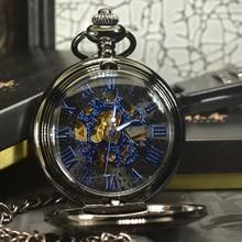 TIEDAN כחול Steampunk שלד מכאני שעון כיס שרשרת Pocket & פוב שעונים מותג יוקרה גברים עתיקים שרשרת זכר שעון