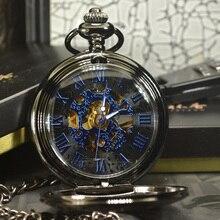 Tiedan 블루 steampunk 스켈레톤 기계식 포켓 시계 남자 골동품 럭셔리 브랜드 목걸이 포켓 & fob 시계 체인 남성 시계