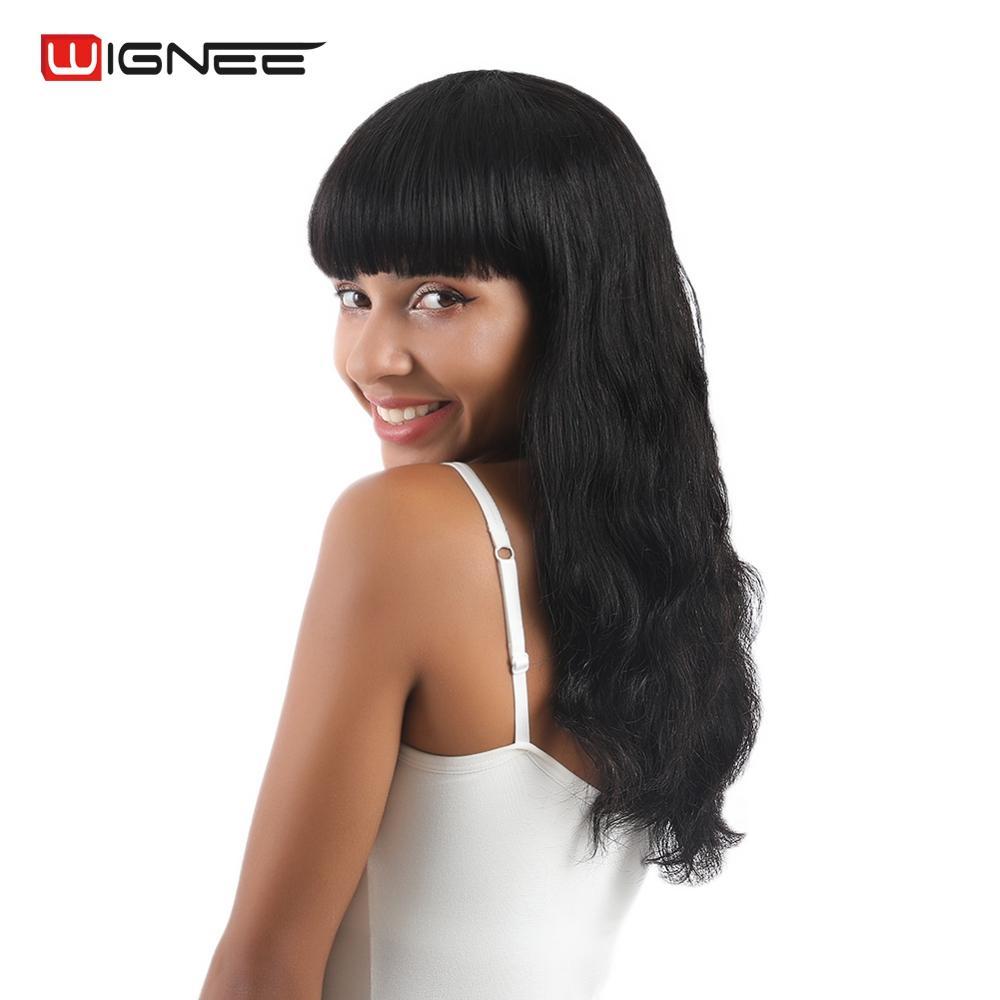 Wignee Brazilian Remy Hair Long Human Hair Wigs With Free Bangs For Women 150% Heavy Density Glueless Hair Deep Wave Human Wig
