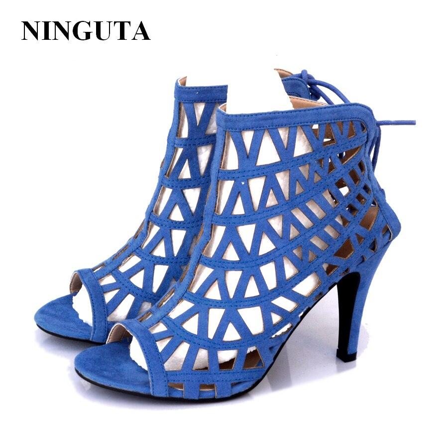 gladiator blue high fretwork sandals summer heels Fashion women HEIWe9D2Y