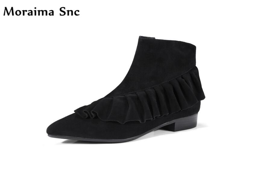 Moraima Snc Ruffles decoration women Ankle boots vintage suede pointed toe med heels side zipper riding boots square heel 2018 moraima snc chic women winter platform pointed toe mid calf boots solid black lace up fringe vintage suede high heel