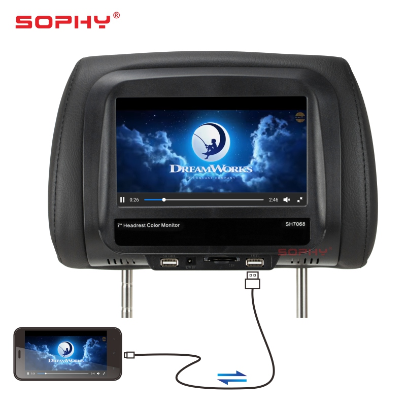 7 inch TFT LED Touch Screen Car Headrest Monitor/ Pillow Monitor/ Seatback video input and display/ MP5 Player Black SH7068 MP5 Car Monitors     - title=