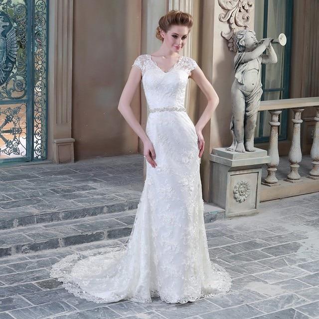 Wedding Dress 2017 Bridal V Neck Cap Sleeve Lace Appliques Sexy Mermaid Bride  Gown Vestido De 36434204c525