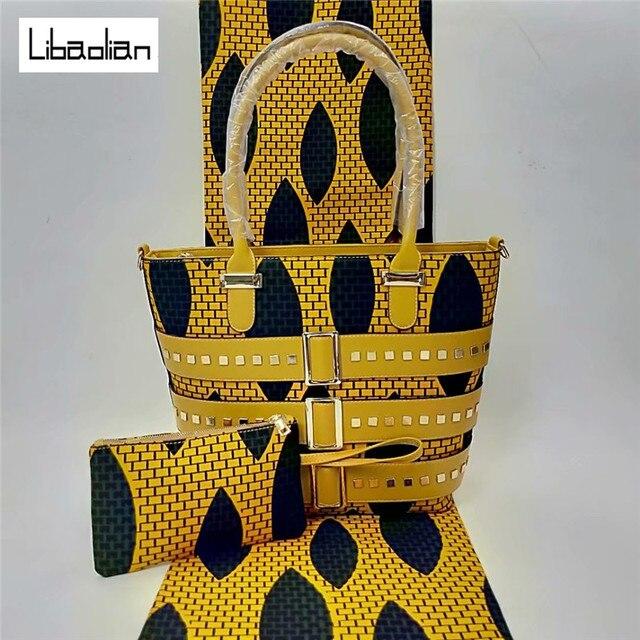 5cb9e5d71f63 african hollandais real dutch wax 2018 ankara wax print fabric with  matching handbag set for women party african fabric F808-26