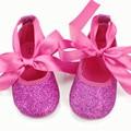 2016 Hot Pink Glitter Baby girl Обувь Симпатичные Лук картер девочка Свадебные Младенцев свадебные acdorable фантазии Первые Ходунки