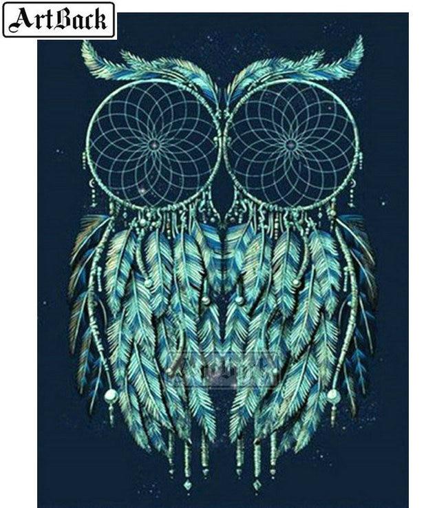 US $6 08 39% OFF Full square/round 5d diamond painting green owl icon dream  puff net diamond diy 3d diamond embroidered diamond mosaic crafts-in