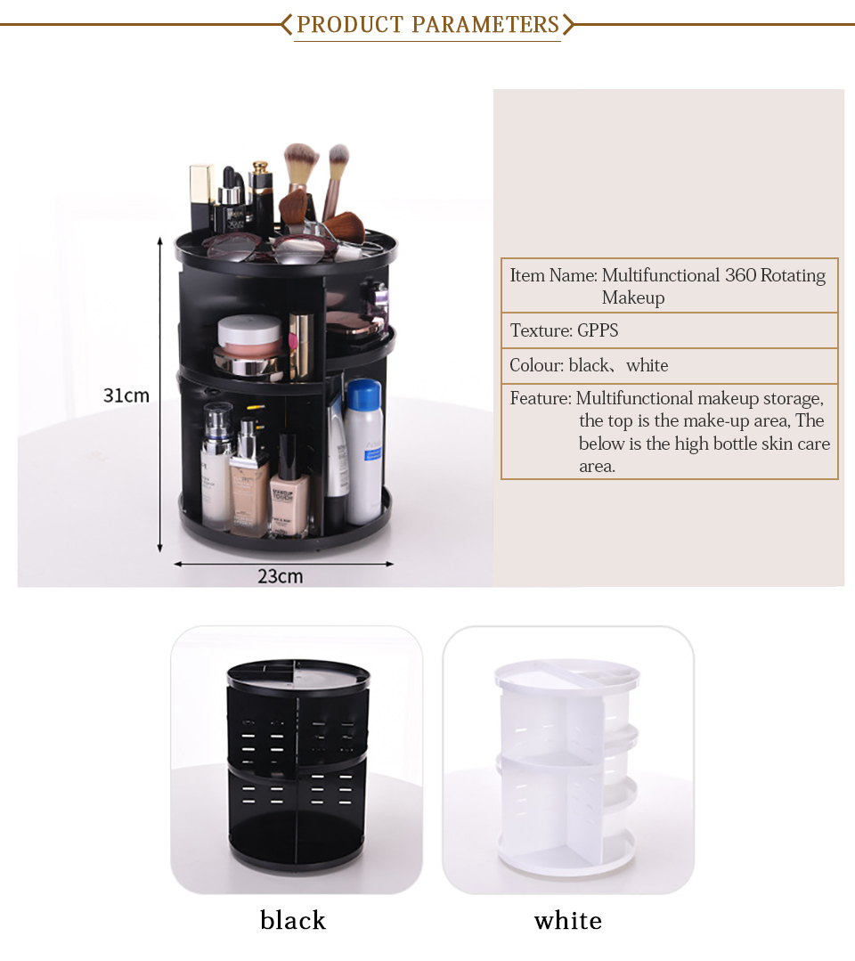 360 Degree Rotating Makeup Organizer Multifunction Jewelry Cosmetic Lipstick Brushes Make Up Organizer Plastic Storage Box Case 03