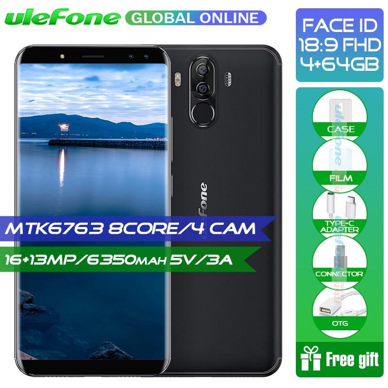 """Ulefone Мощность 3 S 6,0 """"18:9 FHD + смартфон 6350 мАч 5 В/3A Android 7,1 Helio P23 восьмиядерный Face ID четыре Cam 4 ГБ 64 ГБ мобильного телефона"""