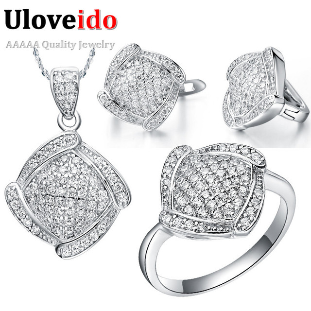 Uloveido Wedding Jewelry Set Necklace Earrings and Ring Crystal Silver Color Women Bridal Jewelry Sets Jewellery 49%off T051