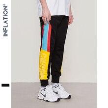 Inflação 2020 alta rua cintura elástica sweatpants magro jogger lado listra faixa do vintage calças de carga da marca 8852 w