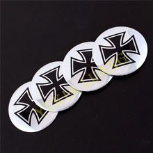 4pcs 56.5mm Cross Shaped Logo Car Steering Wheel Center Hub Cap Badge Stickers