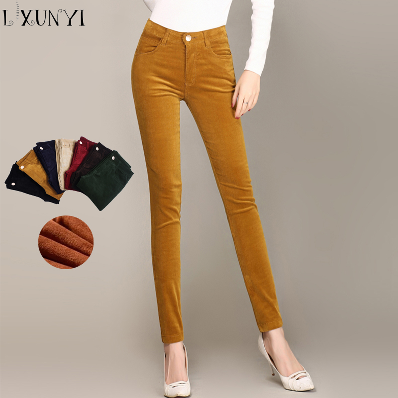 LXUNYI Autumn Skinny Thick Corduroy Pants Womens Zipper Slim Pencil Pants Women Warm Pockets Solid Office Trousers Lady Big Size