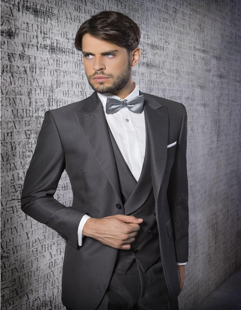 New Style One Button Silver Grey Groom Tuxedos Notch Lapel Best Man ...