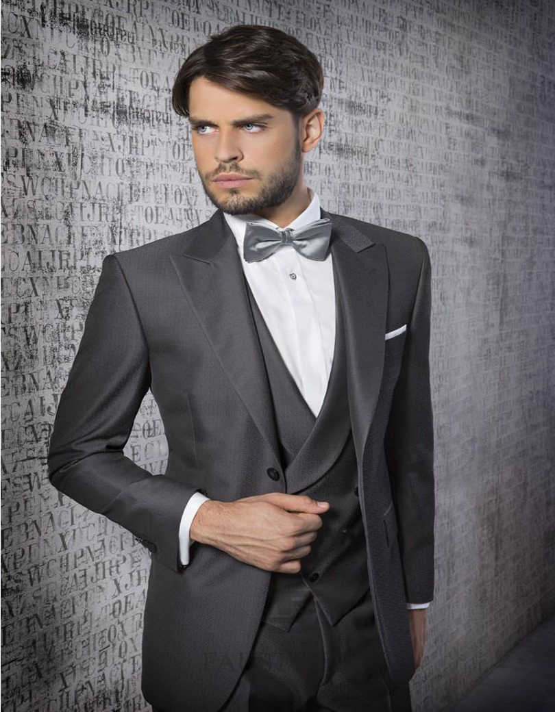 a1959b37d44a New Style One Button Silver Grey Groom Tuxedos Notch Lapel Best Man  Groomsmen Prom Suits Business