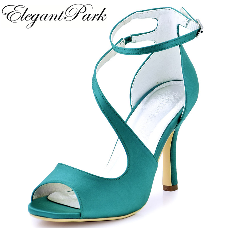 Woman High Heel Ankle Strap Sandals Teal Purple Peep Toe Bridesmaid Satin Prom Strappy Pumps Bride Wedding Bridal Shoes HP1565 lttl bohemia print floral chunky heel sandalias female blue red prom wedding shoes woman ankle strap sequins rhinestone sandals