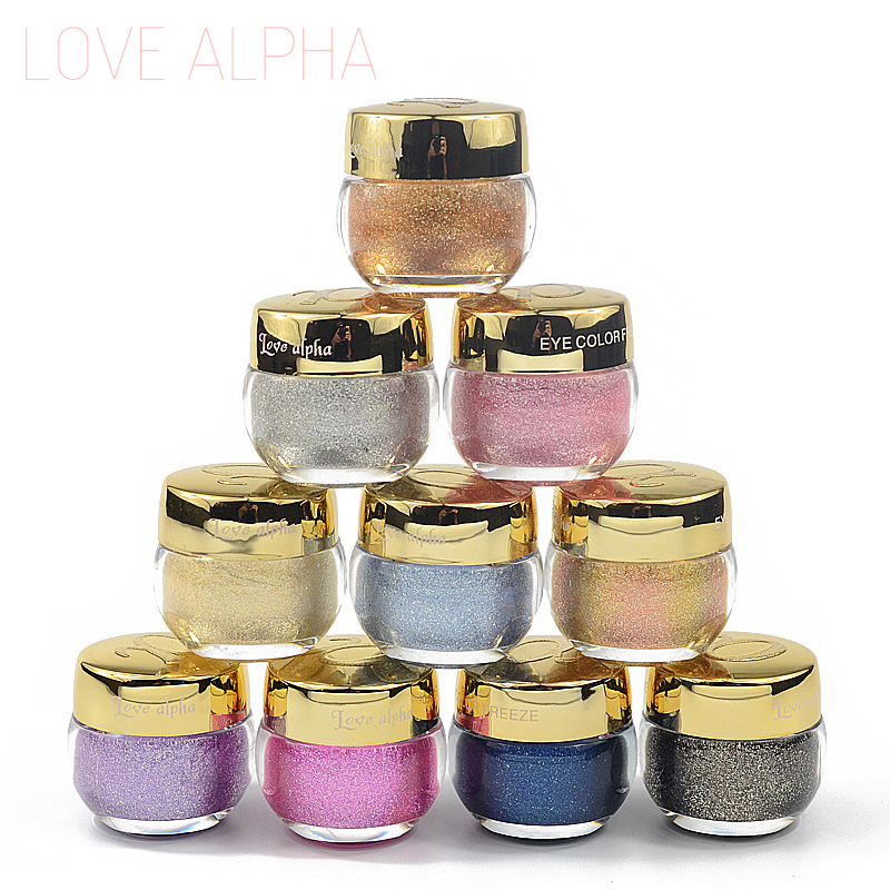 Brand 3D Glitter Eyeshadow font b Cream b font Makeup 16 Colors Waterproof Shimmer Metallic Eye