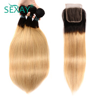 Sexay מראש בצבע אור בלונדינית שיער אנושי 4 חבילות עם סגירה T1B/#27 Ombre לארוג שיער חלק פרואני עם סגירת תחרה
