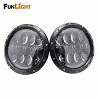 NEW 2Pcs 7 80W Round LED Headlights Kit With Angel Eye DRL White Amber Turn Signal