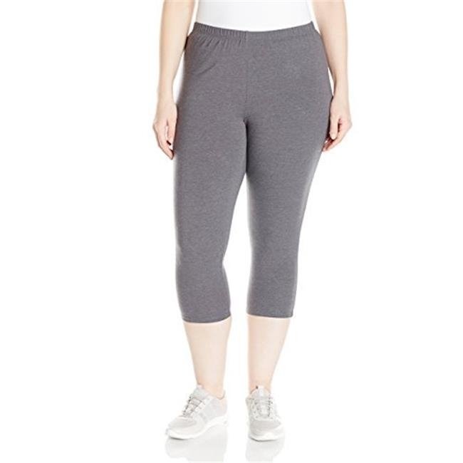 Just my size 90563242054 womens plus-size stretch jersey capri legging - charcoal heather 2x