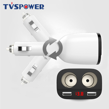 Foldable 3.6A Dual USB Car Charger LED Voltage Display Phone With 2 Cigarette Lighter Socket for iPhone Samsung GPS DVR