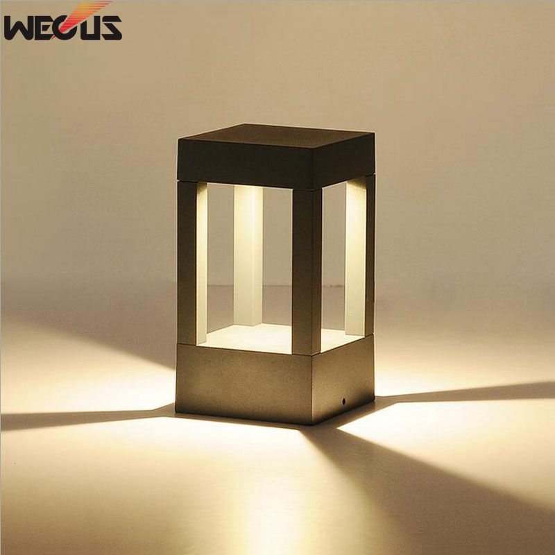 (WECUS) Die-cast אלומיניום אלומיניום עמיד למים (IP65) אור, גן / הנוף פארק אורות מנורות הדשא LED, עמוד הדלת האורות