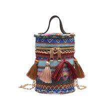 Sacs à main cylindrique en Denim pour femmes, sacoche à chaîne, à épaule, couleur unie, # S
