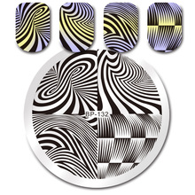 Черный, белый цвет линейки Геометрия Круглый штамповка шаблон новорожденных довольно маникюрный Дизайн ногтей печать изображения пластина bp-132