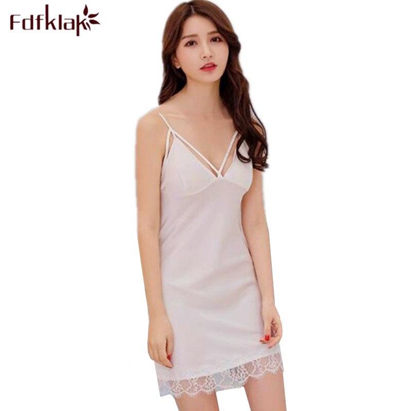 Women night dress sexy sleeveless short nightgowns female lace silk nightwear dresses women's sleepwear lingerie nightshirt