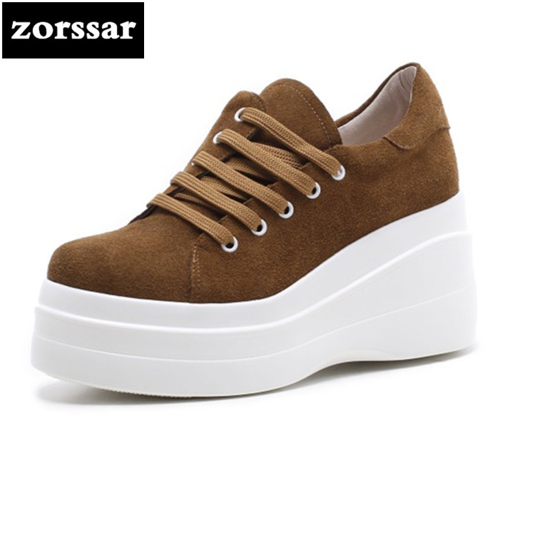 {Zorssar} fashion suede Women sneakers Shoes 2018 New Womens Wedges High heels Casual shoes Ladies High heels pumps