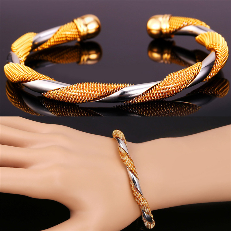 Cuff Bangle Bracelet Gift Fashion Italy Jewelry Mix Color Gold ...