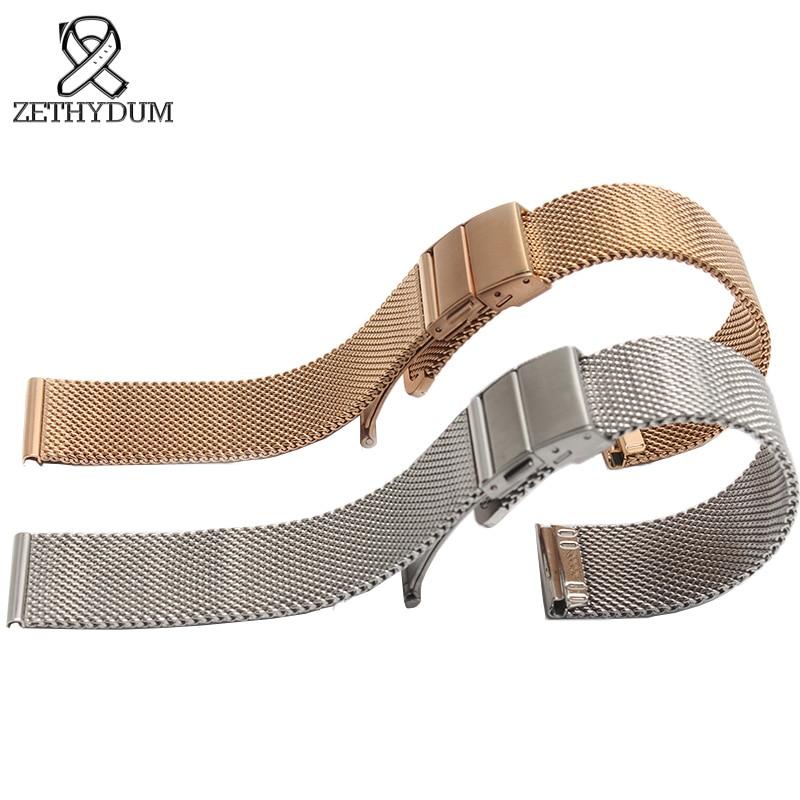 Milan mesh stainless steel bracelet Watchbands 16 18 20mm Thin womens stainless steel bracelet Replacement Metal Band