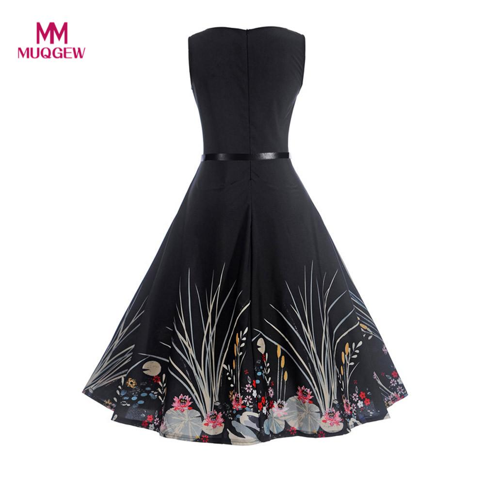 MUQGEW summer Women Vintage dress Printing Vintage Sleeveless Casual Evening Party Prom Swing O Neck Dress