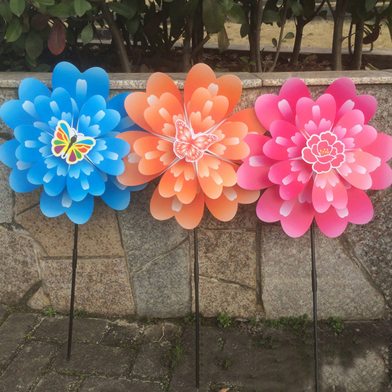 Double Peony Flower Butterfly Windmill Colourful Wind Spinner Home Garden Decor Yard