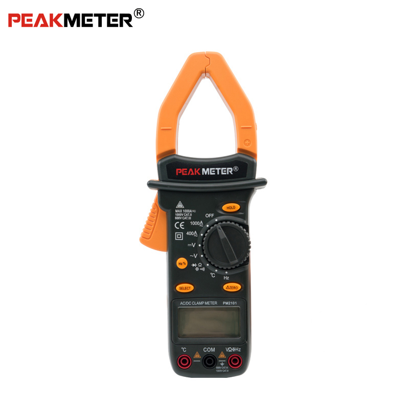 Official PEAKMETER PM2101 Auto Range Digital AC DC Current frequency Voltage Clamp Meter With Temperature Tester