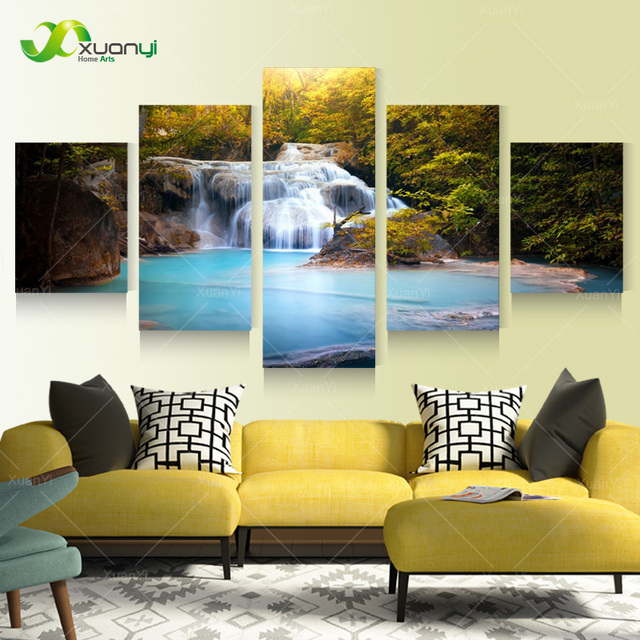 5 Panel Modern Wall Art Canvas Prints Painting Waterfall Scenery ...