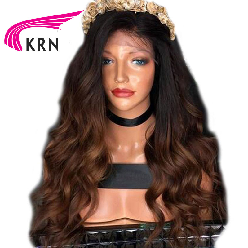 KRN 150 Density Lace Front Human Hair Wigs With Baby Hair Ombre Body Wave Remy Hair
