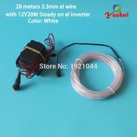 DC12V 20Metre 2.3mm 10 colors Choice EL Wire Luminous Flexible Neon Light Cable LED Thread Tube For House Dance Party Decoration