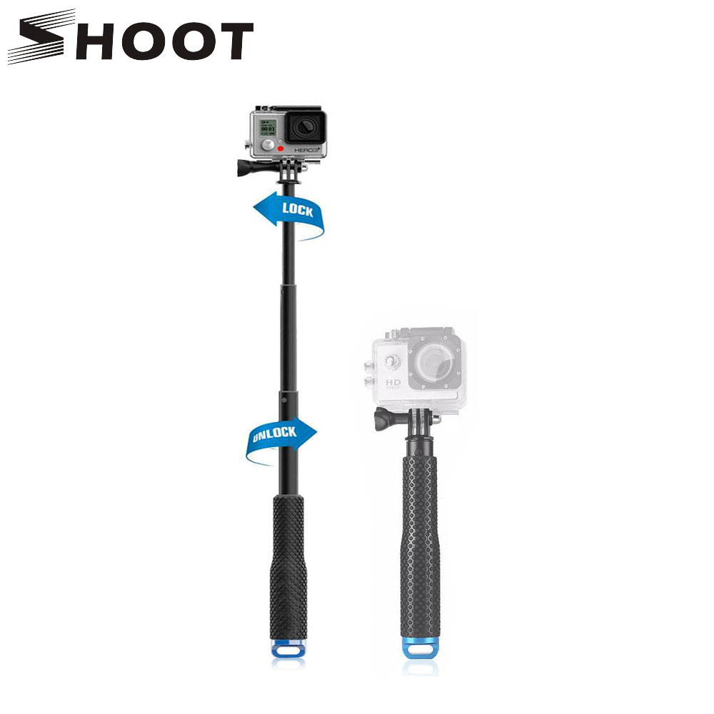 SHOOT 19 49cm Portable Selfie Stick Extend Monopod For Gopro Hero 6 5 4 HERO5 Session