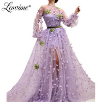Illusion 2019 Spring Summer Evening Dress Robe De Soiree New Custom Long Sleeves Prom Dresses Dubai Kaftan Wedding Party Gowns