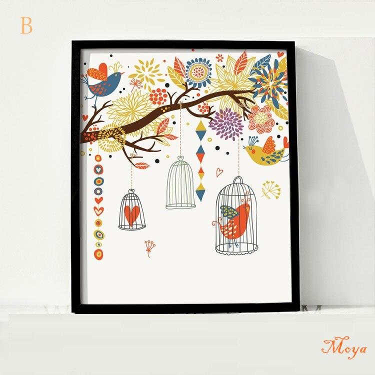 vogel mode cartoon malerei ikea rahmen wohnkultur bild auf leinwand ...