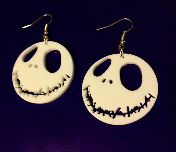 Jack Skellingto White Acrylic Earrings Halloween Jewelry 2014