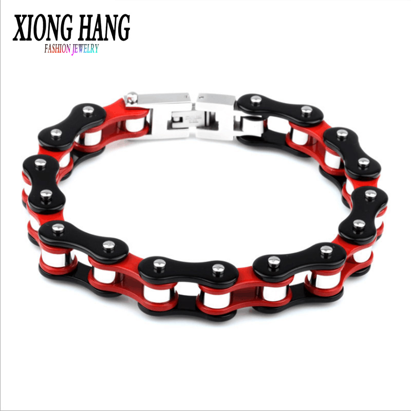 XiongHang Fashion 316L Stainless Steel Jewelry Cool Men Biker Bicycle Motorcycle Chain Men's Bracelets & Bangles Gift wholesale