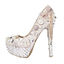 Women's Wedding Luxury Shoes Sale Online Diamond Bow Super High Heel Platform Crystal Tassel Pearl Bridal Pumps High Quality blue tassel chinese style blue and white string bead women pumps crystal luxury platform weeding party bule stone bridal shoes