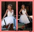 Горячие Продажи короткие свадебные платья line белый аппликации v декольте свадебные платья без рукавов плиссированные платья невесты на продажу