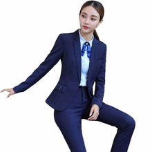 Office uniform design blazer with trousers two piece set business trouser suits blue black women formal pant suit for work S-4XL