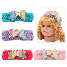 1 Piece Glitter Bows Crochet Headbands Big Bow Sequins Unicorn Accessories Decorations Head Bands New Design Children Headwear(China)