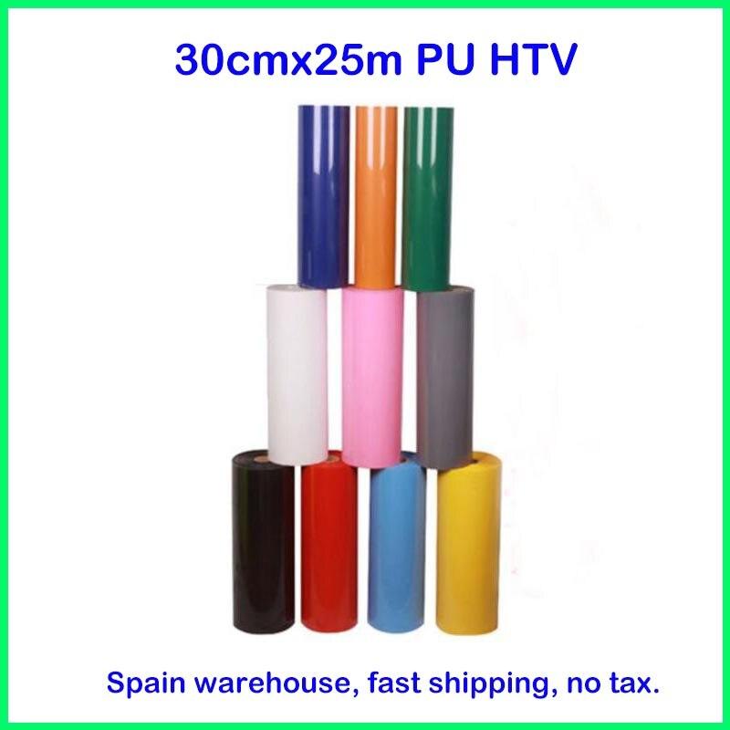 1 rouleau 30 cm x 25 m PU transfert de chaleur vinyle T-shirt fer sur HTV Film impression découpe traceur chaleur presse (espagne warhouse, pas de taxe)