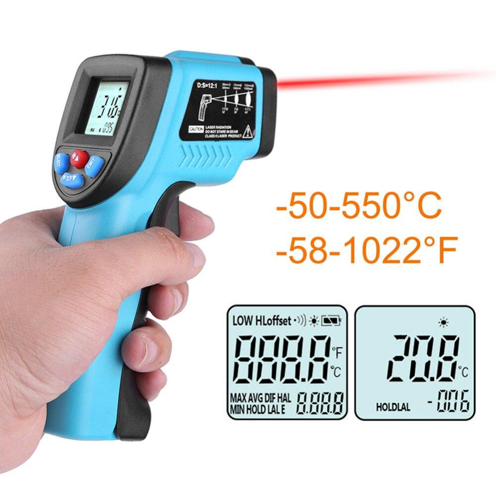 50-550 grados sin contacto Digital infrarrojo frente termómetro LCD IR láser punto pistola temperatura bebé adulto medidor pirómetro