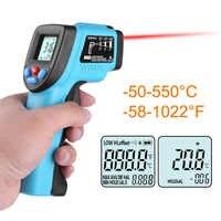 Termómetro de frente infrarrojo Digital sin contacto de 50-550 grados LCD IR láser pistola de temperatura medidor de bebé adulto pyrometer